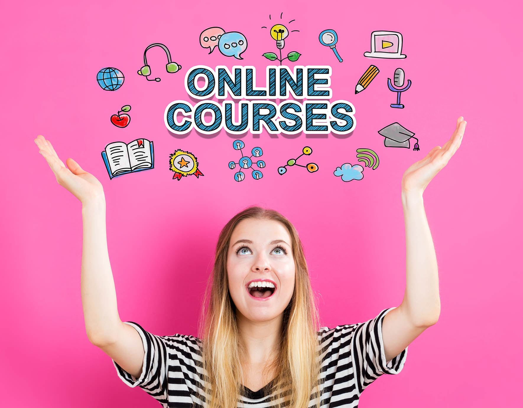 Online Courses concept with young woman reaching and looking upwards
